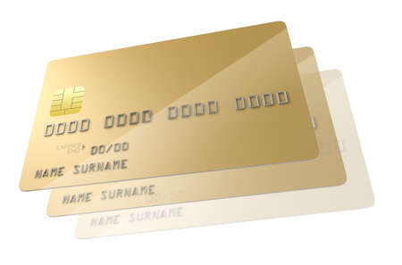 skimming: A closeup view of a series of gold generic blank bank credit cards signifying cloning on an isolated white studio background