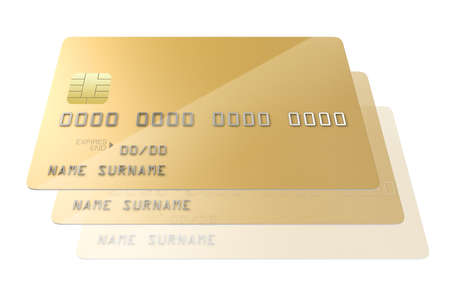 A closeup view of a series of gold generic blank bank credit cards signifying cloning on an isolated white studio background