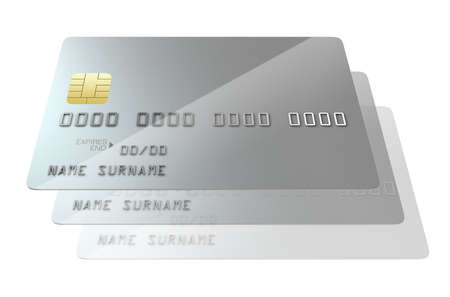 cloning: A closeup view of a series of silver generic blank bank credit cards signifying cloning on an isolated white studio background Stock Photo