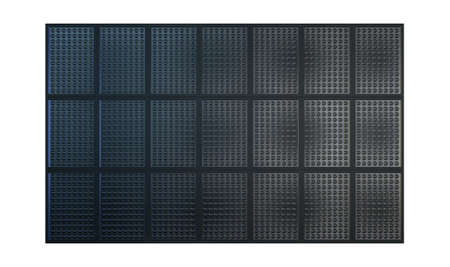 eletrical: A collection of LED panels joined together to make a scoreboard on an isolated white studio background Stock Photo