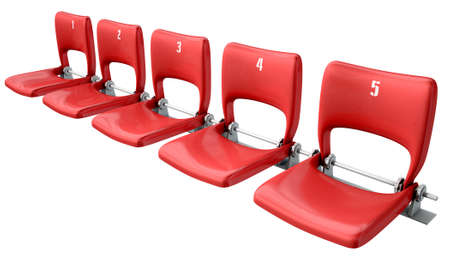stadium crowd: A section of numbered stadium seating with red chairs set in a row on an isolated white studio background