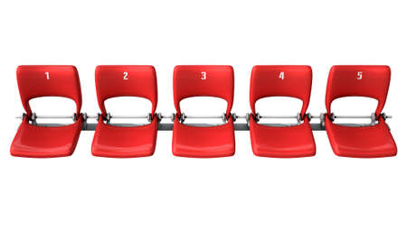 congregation: A section of numbered stadium seating with red chairs set in a row on an isolated white studio background