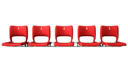 turnout: A section of numbered stadium seating with red chairs set in a row on an isolated white studio background