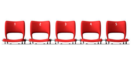 sequential: A section of numbered stadium seating with red chairs set in a row on an isolated white studio background