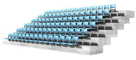 congregation: A section of numbered stadium seating with blue chairs set in rows on a sloping concrete bank