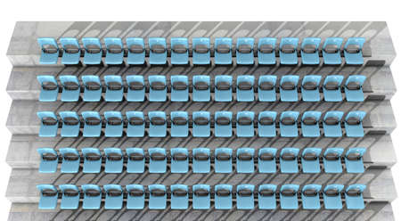 sequential: A section of numbered stadium seating with blue chairs set in rows on a sloping concrete bank