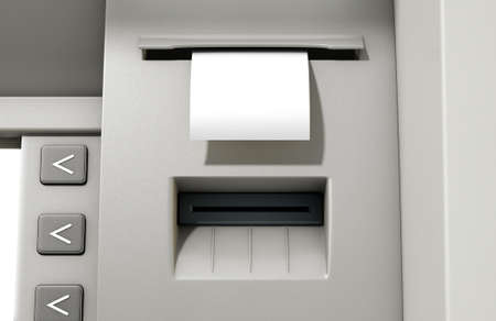 bank withdrawal: A closeup view of the slip printing section of an atm with a blank receipt Stock Photo