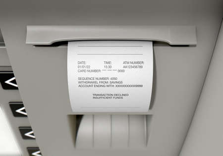 deposit: A closeup view of the slip printing section of an atm with a declined receipt Stock Photo