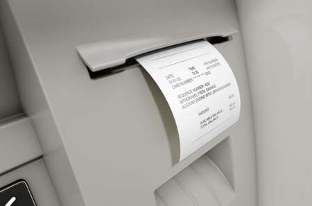 deposit slip: A closeup view of the slip printing section of an atm with a withdrawel receipt