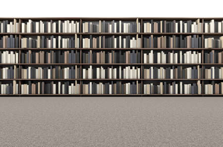 old library: A direct top view of a row of a library bookshelf in a carpeted aisle Stock Photo