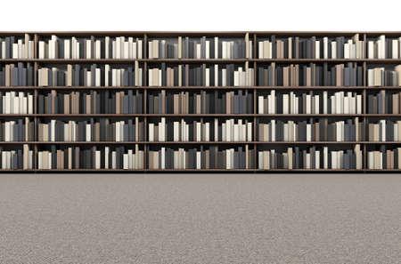 biblioteca: Una vista superior directa de una fila de una estantería de la biblioteca en un pasillo alfombrado