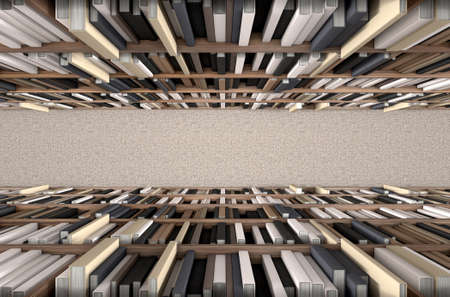 reference book: A direct top view of a row of a library bookshelf in a carpeted aisle Stock Photo