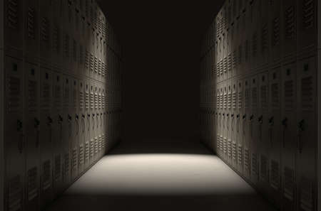 A direct top view of a row of regular school lockers in a corridor dramatically lit by a single spotlight