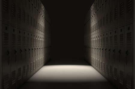 Eine direkte Draufsicht auf eine Reihe von regelmäßigen Schule Spinde in einem Korridor dramatisch von einem einzigen Scheinwerfer beleuchtet