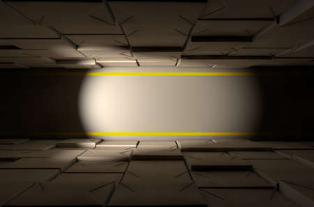 dramatically: A direct top view of aisle of stacked wrapped boxes in a concrete warehouse dramatically lit by a dim spotlight