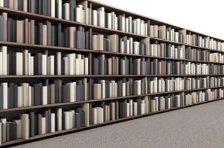 カーペット敷きの通路に図書館の本棚の行の直接のトップ ビュー