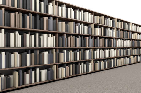 A direct top view of a row of a library bookshelf in a carpeted aisle Stock Photo