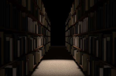 dramatically: A direct top view of a row of a library bookshelf in a carpeted aisle dramatically lit by a single spotlight Stock Photo