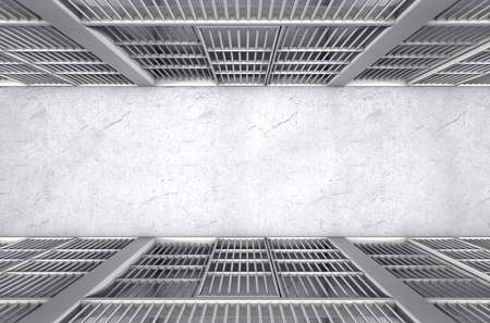 correctional: A direct top view of a row of closed jail cells between a concrete aisle lit by a single dramatic spotlight