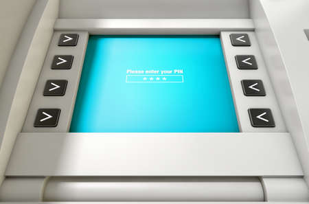 prompt: A closeup view of an atm screen with the enter pin prompt display