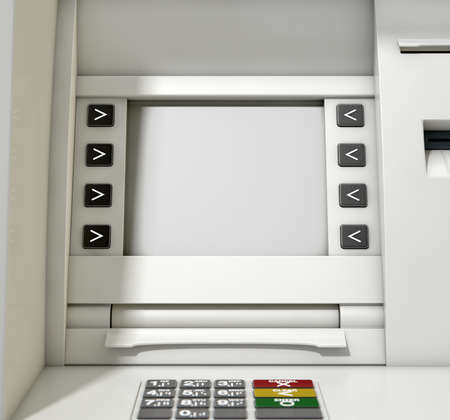 blank screen: A closeup view of a blank generic atm screen Stock Photo