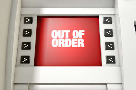 out of order: A closeup view of a red atm screen that reads out of order
