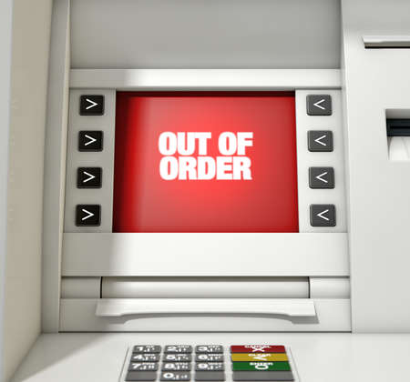 A closeup view of a red atm screen that reads out of order