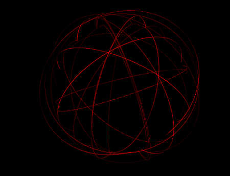 swish: An abstract globe surrounded by orbiting light trails on a dark space background