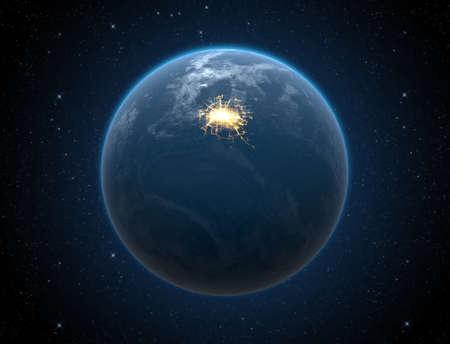 iluminated: Un planeta mundo gen�rica con luces iluminado de la ciudad sobre un fondo oscuro espacio Foto de archivo