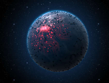 digital data: A generic alien looking world planet with iluminated city lights and a glowing data circuit network on a dark space background Stock Photo