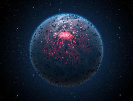 iluminated: Un extranjero de aspecto gen�rico planeta mundo con luces de la ciudad iluminados y una red de circuito de datos que brilla intensamente en un fondo oscuro espacio