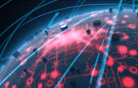 iluminated: A generic alien looking world planet with iluminated city lights and a glowing data circuit network surrounded by orbiting light trails on a dark space background