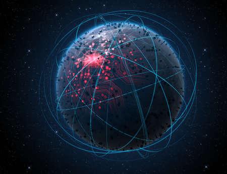 Un alien générique planète monde à la recherche des lumières de la ville illuminés et un réseau de circuit de données brillant entouré de sentiers en orbite autour de la lumière sur un espace fond sombre Banque d'images - 47115298
