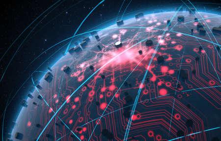 Eine generische Alien sucht weltweit Planeten mit iluminated Lichter der Stadt und ein glühender Datenleitungsnetz durch umlaufende Lichtspuren auf einem dunklen Raum Hintergrund umgeben