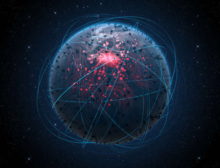 Eine generische Alien sucht weltweit Planeten mit iluminated Lichter der Stadt und ein glühender Datenleitungsnetz durch umlaufende Lichtspuren auf einem dunklen Raum Hintergrund umgeben Standard-Bild - 47115297