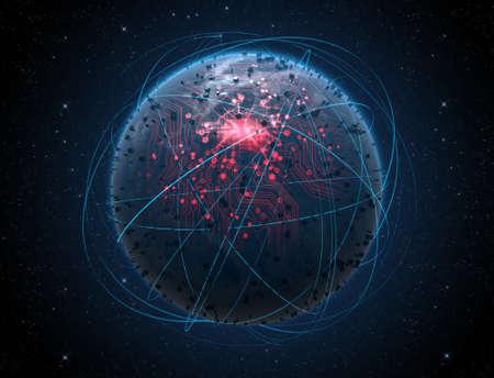 iluminated 도시의 불빛과 어두운 우주 배경에 궤도를 도는 가벼운 산책로에 둘러싸인 빛나는 데이터 회로 네트워크와 세계 행성을 찾고 일반 외계인