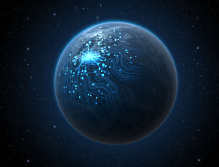 iluminated: A generic world planet with iluminated city lights and a glowing data circuit network on a dark space background Stock Photo