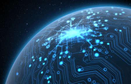 Eine generische Welt Planeten mit beleuchtetes Lichter der Stadt und ein glühender Datenleitungsnetz auf einem dunklen Raum Hintergrund