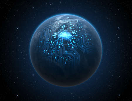 communication industry: A generic world planet with iluminated city lights and a glowing data circuit network on a dark space background Stock Photo