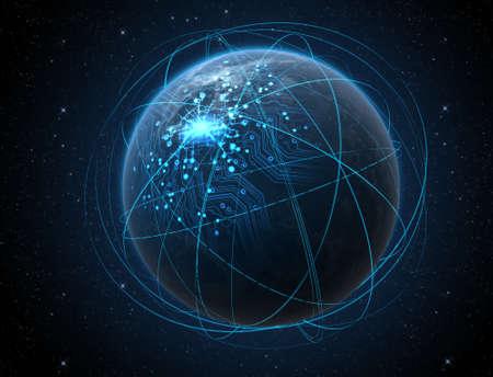 浮き出て街の明かりと輝くデータ汎用世界惑星回路ネットワークに囲まれて暗い空間の背景に光の道を周回 写真素材