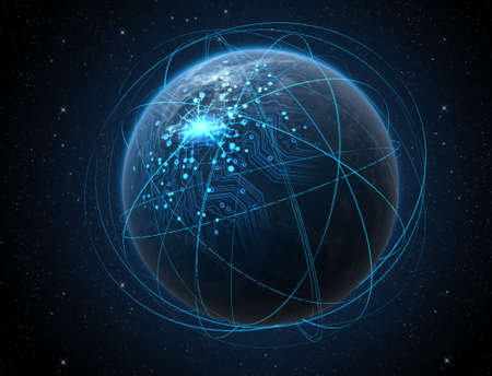 Iluminated 도시의 불빛과 일반 세계 행성과 어두운 공간 배경에 가벼운 산책로 궤도에 둘러싸여 빛나는 데이터 회로 네트워크 스톡 콘텐츠 - 47115269