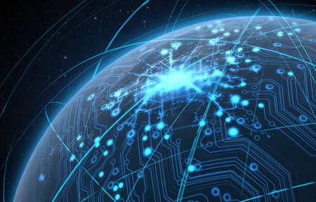 iluminated 도시의 불빛과 일반 세계 행성과 어두운 공간 배경에 가벼운 산책로 궤도에 둘러싸여 빛나는 데이터 회로 네트워크