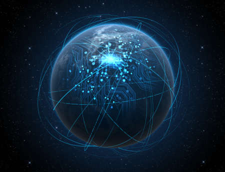 dark city: A generic world planet with iluminated city lights and a glowing data circuit network surrounded by orbiting light trails on a dark space background Stock Photo