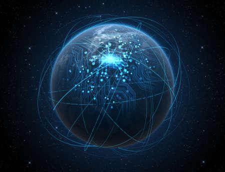 iluminated: Un planeta mundo gen�rica con luces iluminado ciudad y una red de circuitos de datos resplandeciente rodeada de orbitando estelas de luz sobre un fondo oscuro espacio