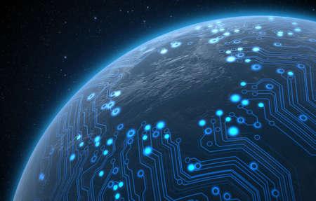 暗い空間の背景に光るデータ回路ネットワークを持つ汎用世界惑星