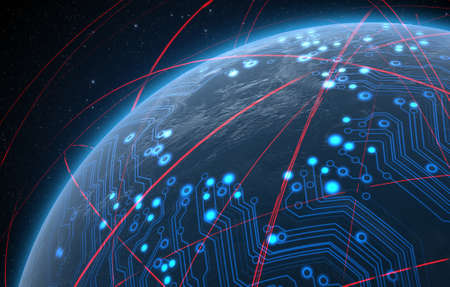 tecnolog�a informatica: Un planeta mundo gen�rico con una red de circuitos de datos resplandeciente rodeada de orbitando estelas de luz sobre un fondo oscuro espacio