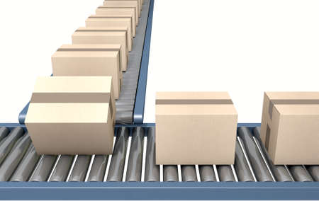 box: A regular roller conveyor system transporting cardboard boxes on an isolated white studio background