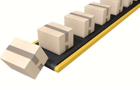 cinta transportadora: Un sistema de cinta transportadora regular de transporte de cajas de cartón que caen fuera de la final en un aislado fondo blanco de estudio