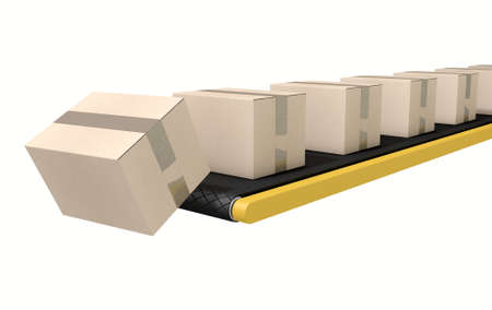 cinta transportadora: A regular belt conveyor system transporting cardboard boxes falling off the end on an isolated white studio background