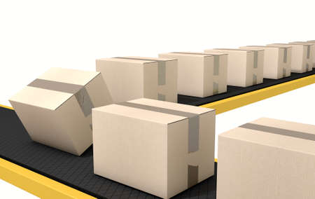 nastro trasportatore: A regular belt conveyor system transporting cardboard boxes on an isolated white studio background Archivio Fotografico